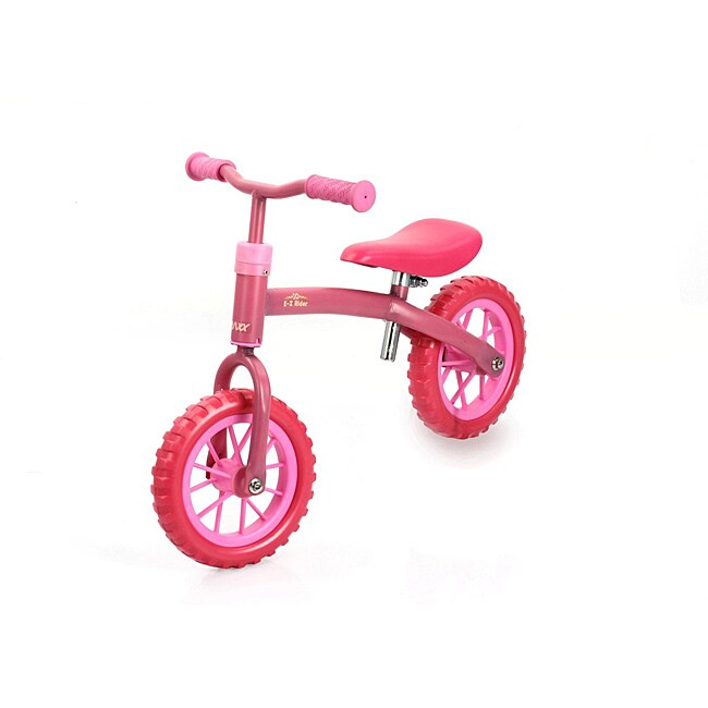Traxx Bubble-pink E-Z Rider 10 Learning Balance Bike with Padded Seat