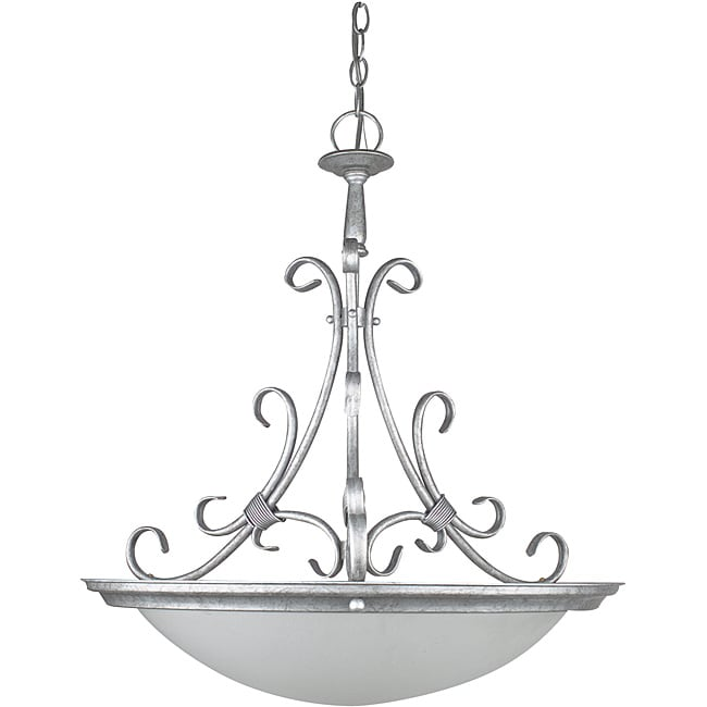 Tuscan Silver 4-light Bowl Pendant Light Fixture