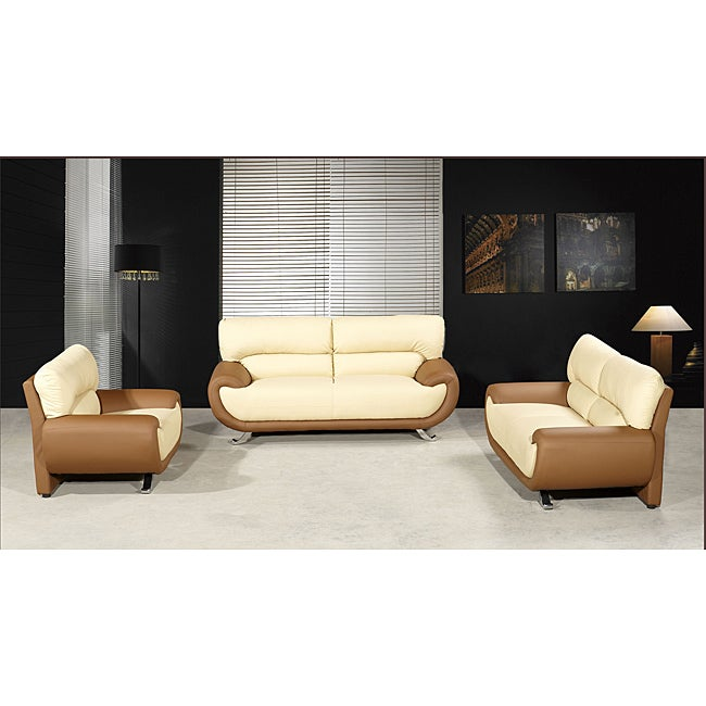 Sasana Faux Leather Two Tone 3-piece Sofa Set