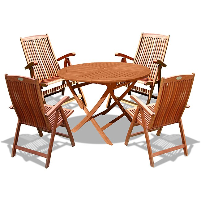 Vifah Eucalyptus Wood 5 Piece Outdoor Dining Set Free Shipping Today 6589458