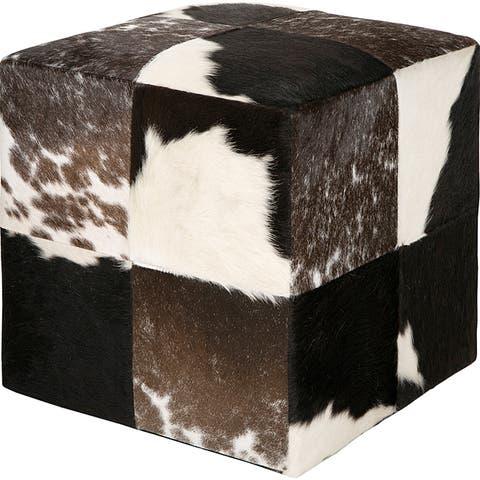 Decorative Cowprint Black Pouf