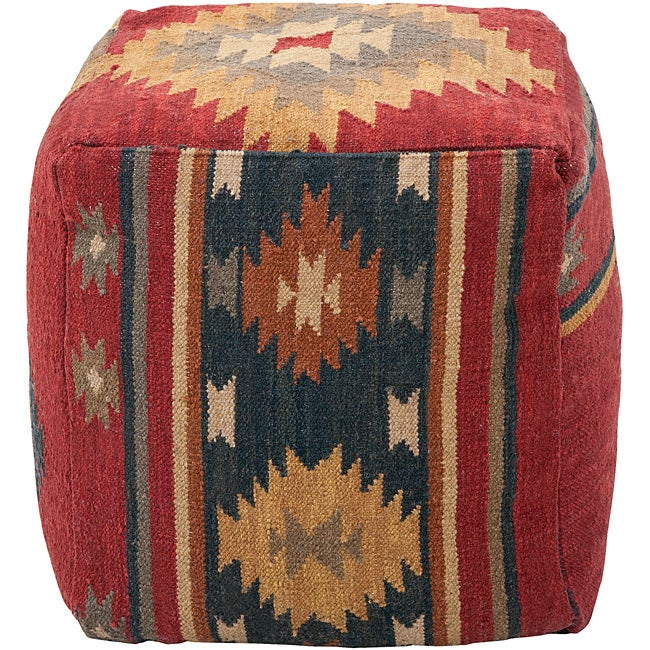 SURYA Decorative Southwestern Maroon Pouf, Red, Size 18 x...