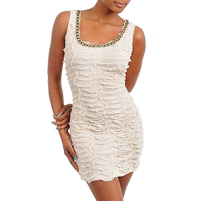 Stanzino Women's Cream Beaded Ruched Dress