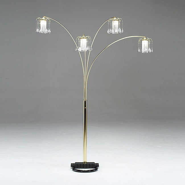 Brass Spider Lamp with Crystal Shades