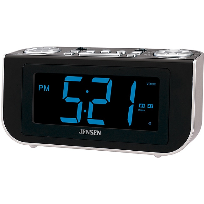 jensen jcr 300 am fm talking dual alarm clock radio with voice recognition free shipping on. Black Bedroom Furniture Sets. Home Design Ideas