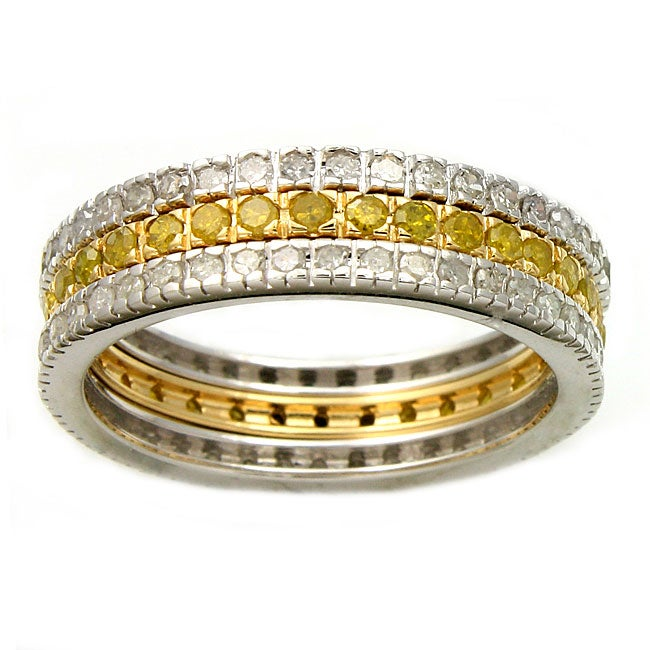 Beverly Hills Charm 14k Gold 1 1/6ct TDW Diamond Stackable Eternity Ring Set