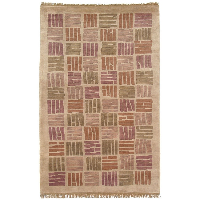 Kosas Home Hand Knotted Melody Bricks Merlot/Gold Wool Rug (8' x 11')