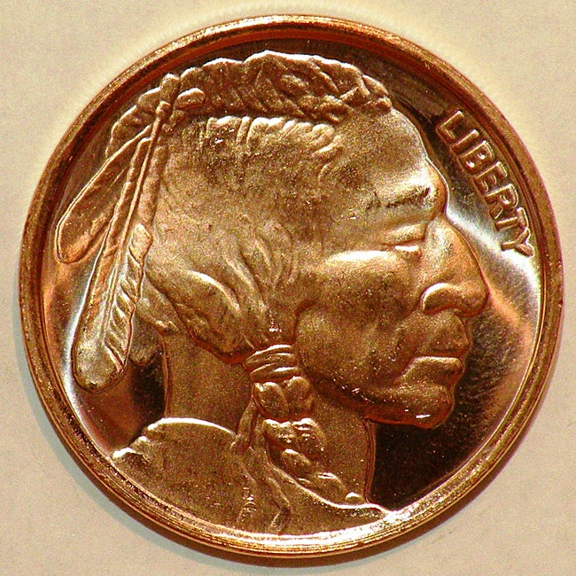 Money Trader 1-oz 999 Pure Copper Bullion 2012 Indian Head Design Coin - Thumbnail 0