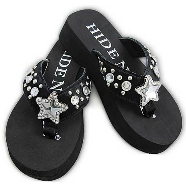 Hidden Sole Women's Black Rhinestone Flip Flops