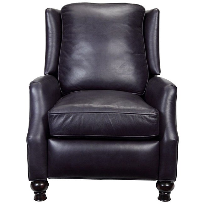 Charles Navy Blue Leather Recliner Club Chair Free