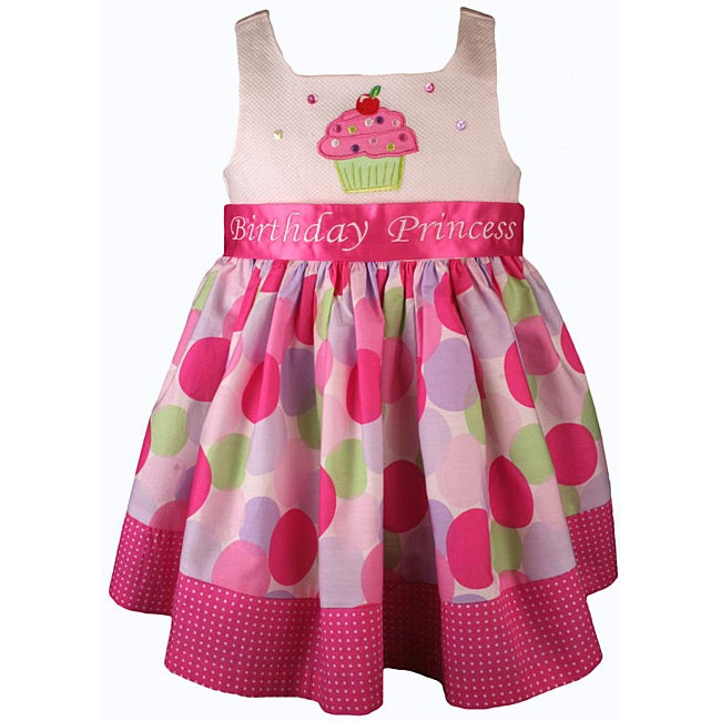 Bonnie Jean Girl's Pink Cupcake Polka Dot Birthday Dress