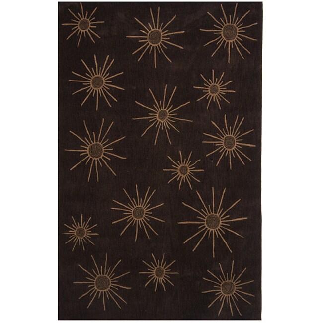 Dynasty Hand-tufted Brown Rug (9'6 x 13'6)