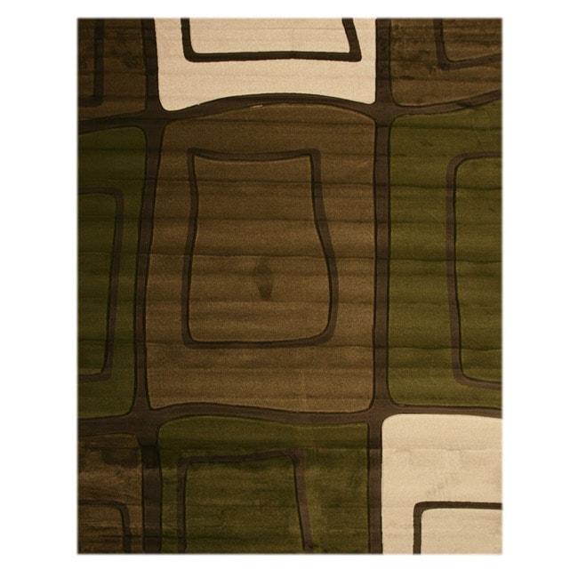 Tangir Green/ White Rug (7'10 x 9'10)