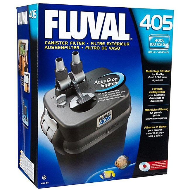 Fluval Canister Filter 340 GPH with a 100-gallon Aquarium Capacity