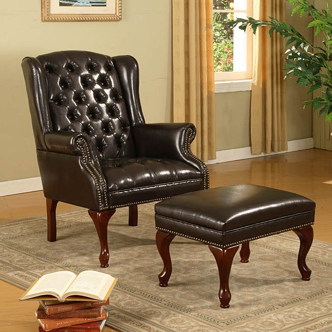 Dark Brown Faux Leather Wing Chair And Ottoman Free