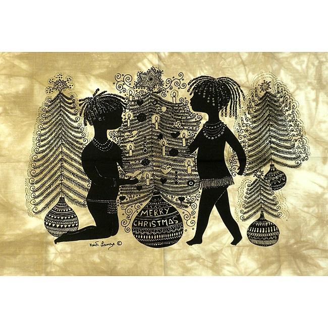 Heidi Lange 'Merry Christmas' Unframed Batik Cotton Screen Print (Kenya)