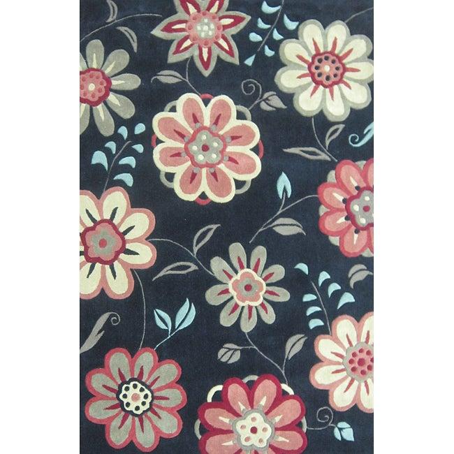 Hand-tufted Chalice Black Floral Rug (5'0 x 7'6)