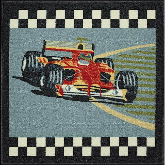 Somette Tufted Race Car Kids Rug (3' x 3')