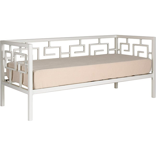 Greek Key Marshmallow White Twin Daybed and Memory Foam Mattress