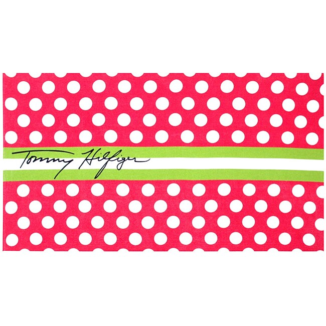 Tommy Hilfiger 'Dots and Stripe' Deluxe Cotton Beach Towel