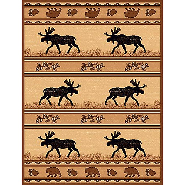 Lodge Design 365 Moose Bear Paw Print Brown Area Rug (5' X