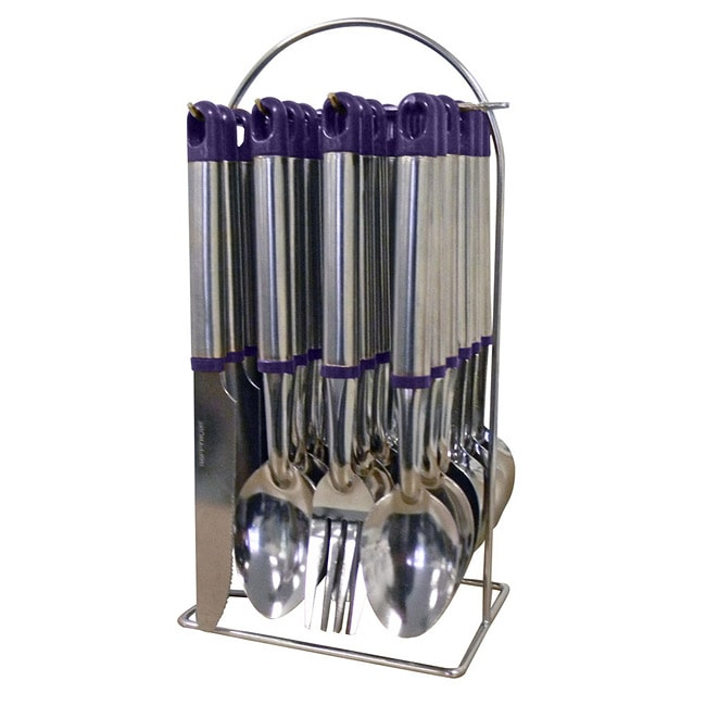 Purple 24 piece flatware set with stand free shipping on orders over 45 - Flatware set with stand ...