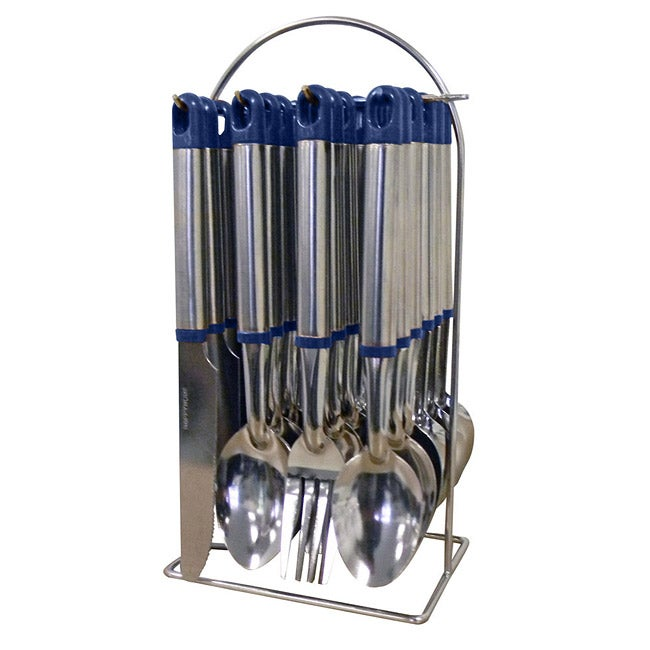 Blue 24-piece Flatware Set with Stand