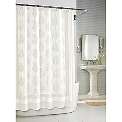 Roman White Medallion Shower Curtain