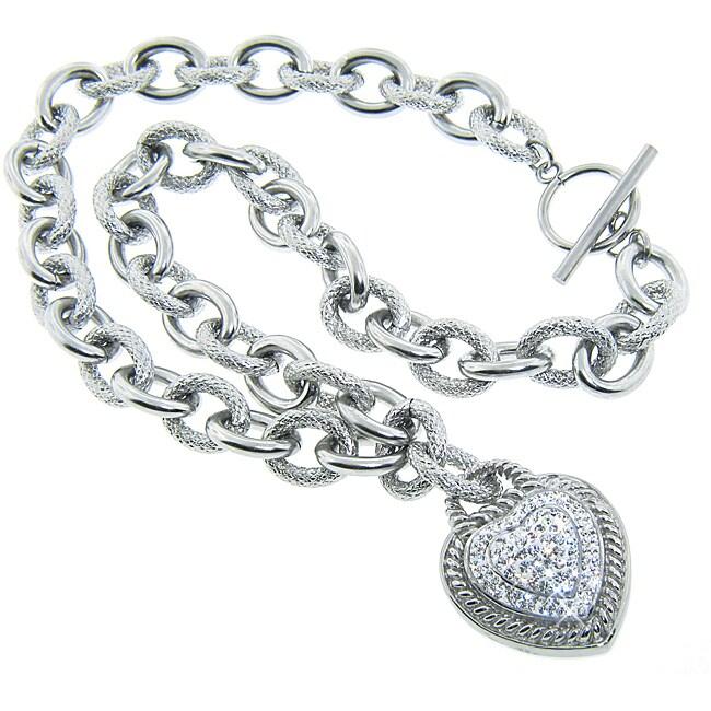 Eternally Haute Steel White Czech Crystal Heart Lock Necklace