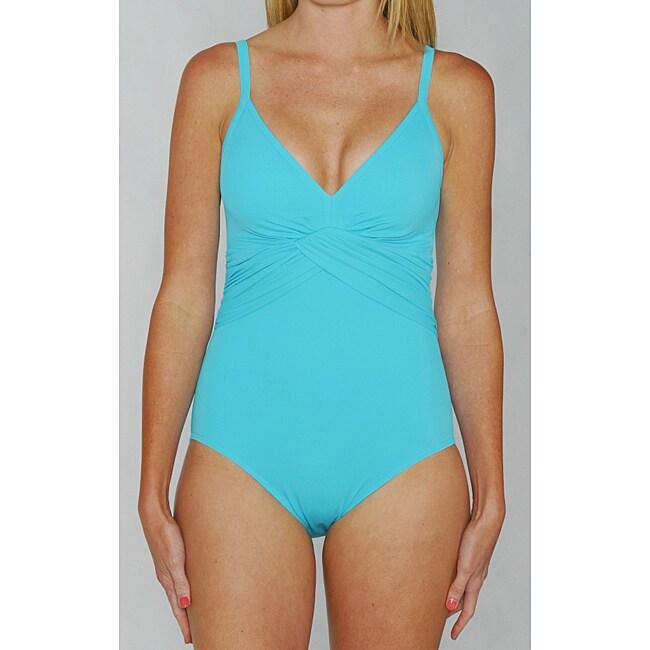 Jantzen Classics Twist Top One-piece Teal Swimsuit