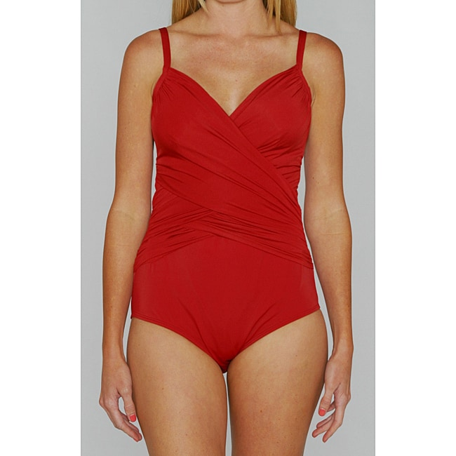 Jantzen Classic Surplice Wrap One-piece Red Swimsuit