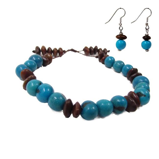 Turquoise Rainforest Bracelet and Acai Earrings Set (Colombia)