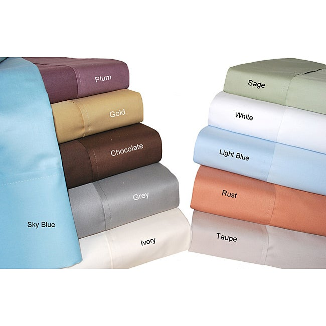 Luxor Treasures Cotton 700 Thread Count Solid Queen Sheet Set