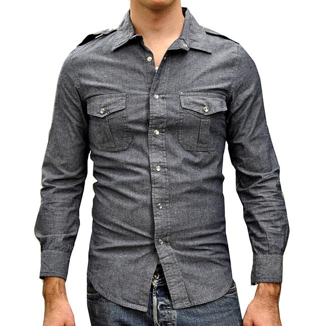 Something Strong Men's Snap Front Denim Shirt