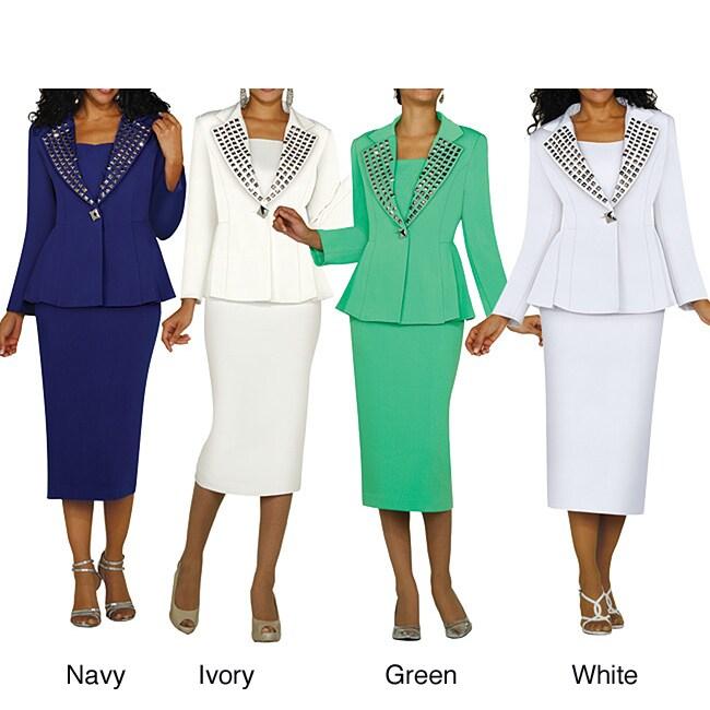Divine Apparel Women's Two-piece Studded Lapel Skirt Suit