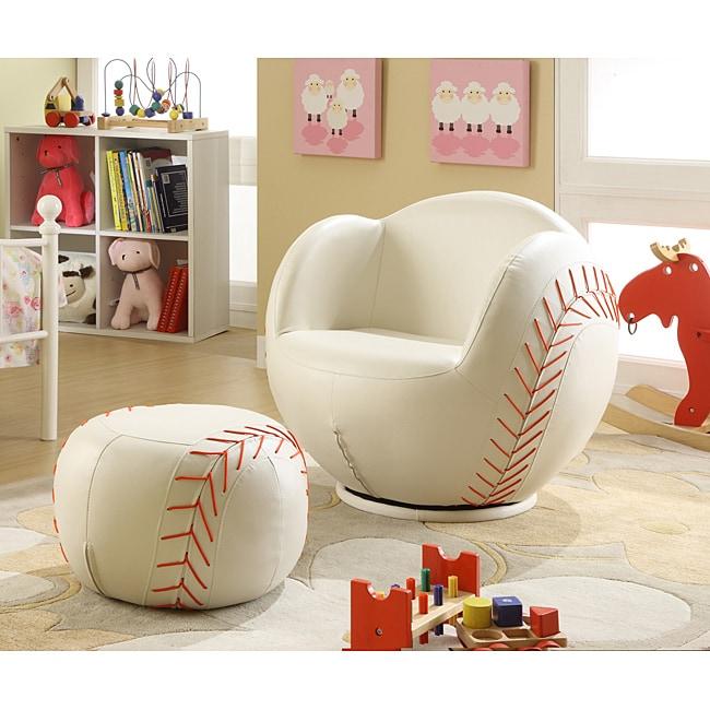 Charming Youth Baseball Chair And Ottoman