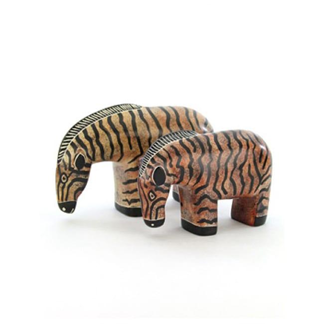 Large Hand-carved Black-and-tan Soapstone Zebra Sculpture (Kenya)