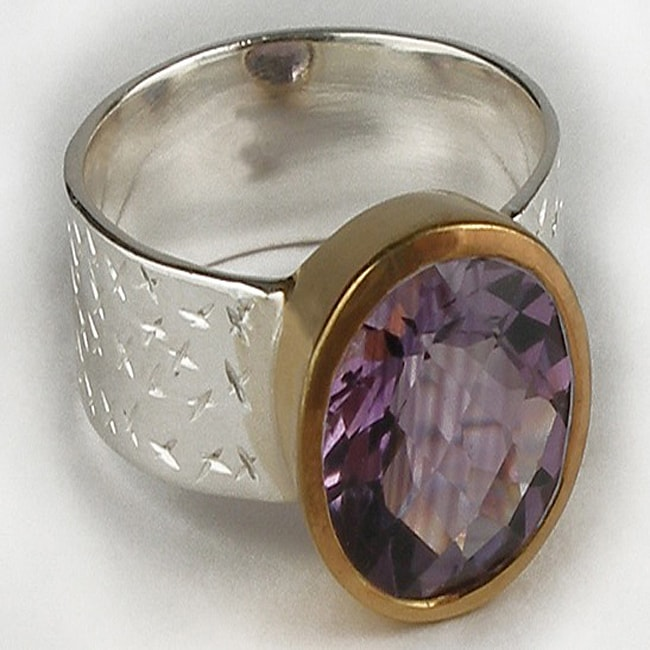 Gold-plated Silver Amethyst Ring (India) Size 7
