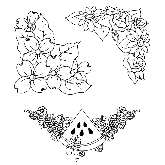 Inky Antics Floral Corners Clear Stamp Set