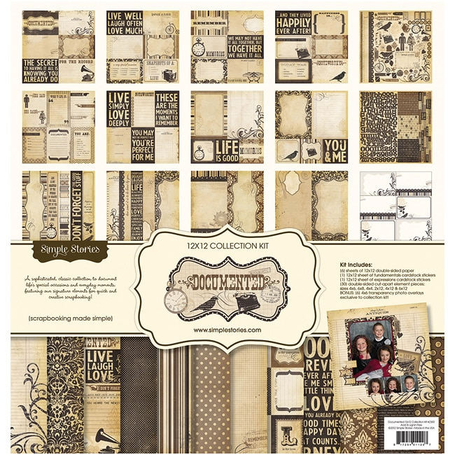 Documented Collection 12x12-inch Scrapbooking Paper Kit