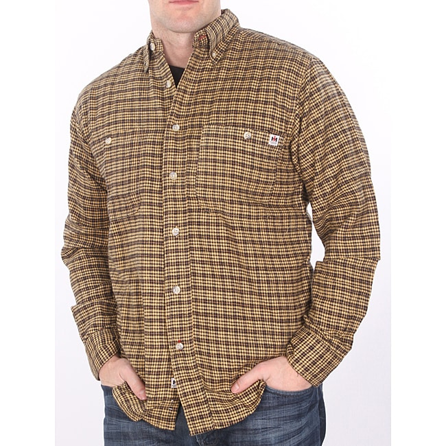 Farmall IH Men's Big/ Tall Gold/ Black Plaid Flannel Shirt