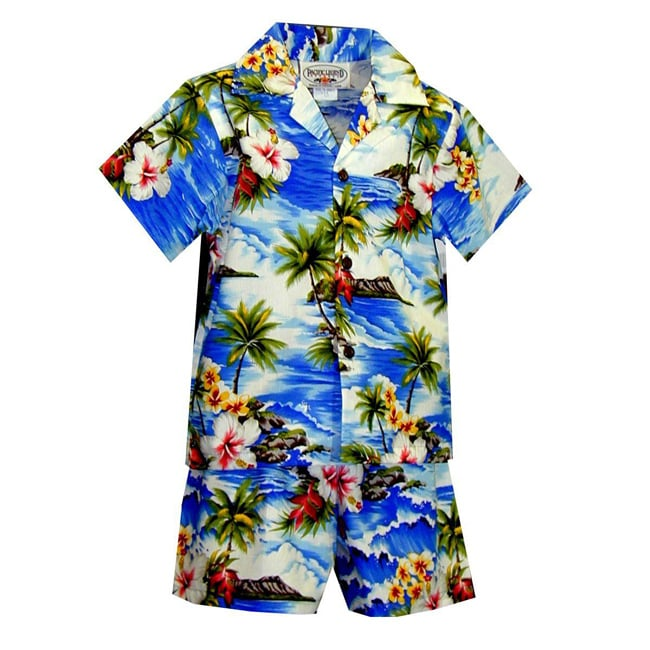 Hibiscus Island Boys Blue Hawaiian Cabana Set