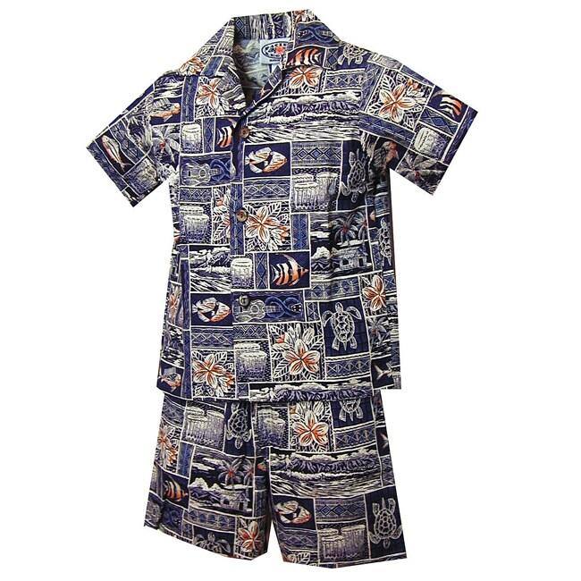Turtle Tapa Boys Navy Blue Hawaiian Cabana Set