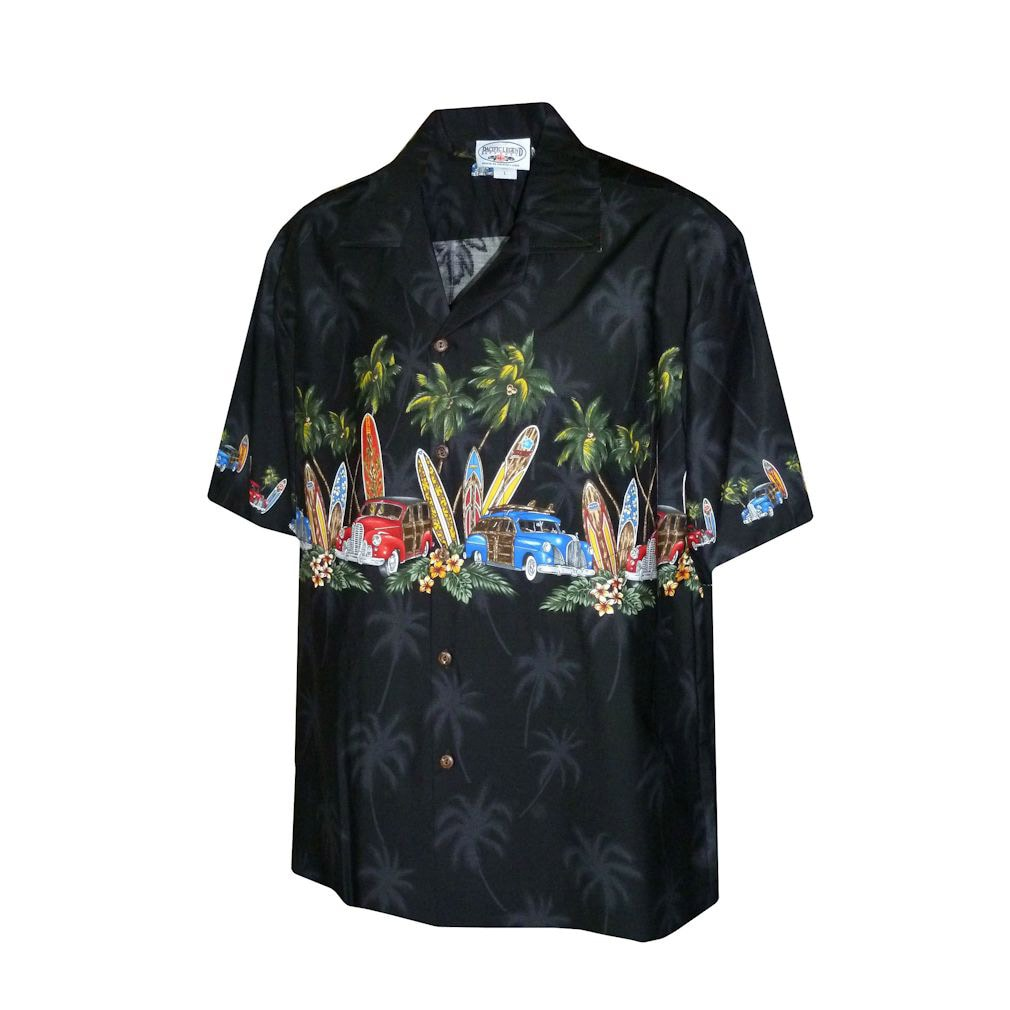 Surfboards and Woodies Boy's Black Hawaiian Aloha Shirt