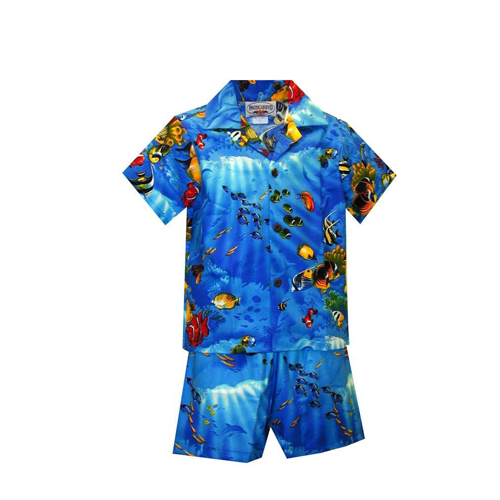 Boys' 2-piece Blue Tropical Reef Hawaiian Cabana Set