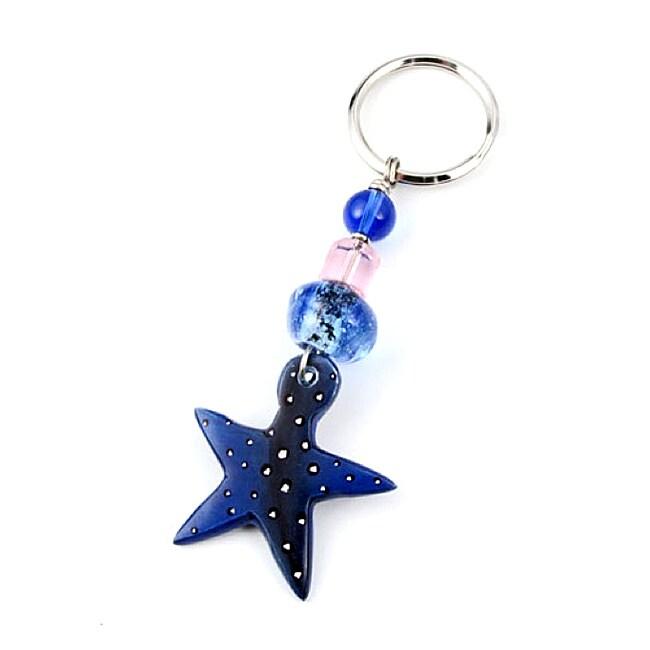 Colorful Kenyan Blue Star Soapstone Key Ring (Kenya)