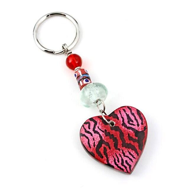 Colorful Red Kenyan Soapstone Four-Inch Heart Keychain (Kenya)