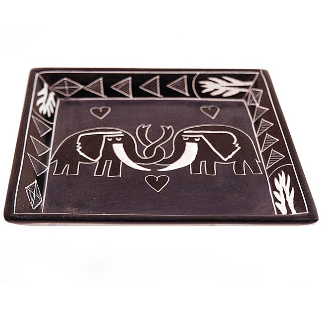 Elephant Lovers Large Square Soapstone Dish (Kenya)