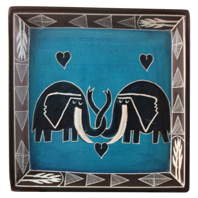 Elephant Lovers Square Large Soapstone Dish (Kenya)