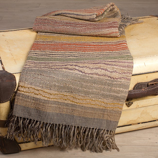 Striped Silk and Wool Throw (India) - Thumbnail 0